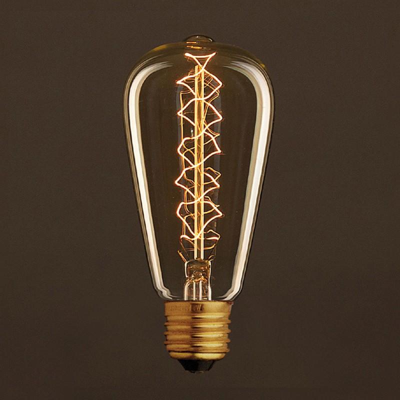 vintage gl hbirne gold edison st64 filament doppelte. Black Bedroom Furniture Sets. Home Design Ideas