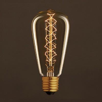 Vintage Glühbirne gold Edison ST64 Filament doppelte Spirale Kohlefaden 25W E27 dimmbar 2000K