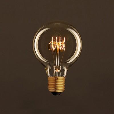 Vintage Glühbirne gold Globo G80 Curved Spirale Filament Kohlefaden 25W E27 dimmbar 2000K
