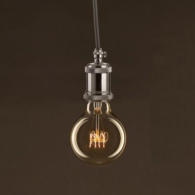 Vintage Glühbirne gold Globo G80 Curved Spirale Filament Kohlefaden 30W E27 dimmbar 2000K