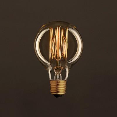 Vintage Glühbirne gold Globo G80 vertikaler Kohlefaden 30W E27 dimmbar 2000K