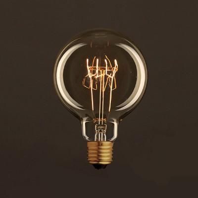 Vintage Glühbirne gold Globo G95 Spirale Filament Kohlefaden 30W E27 dimmbar 2000K