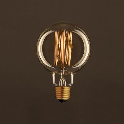 Vintage Glühbirne gold Globo G95 vertikaler Kohlefaden 30W E27 dimmbar 2000K