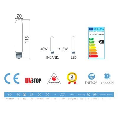 LED-Glühbirne 5W E14, klar röhrenförmig , Vintage, dimmbar