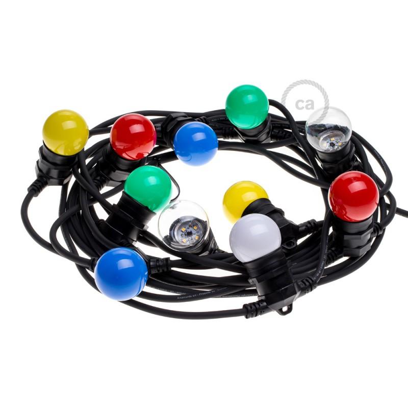 Lichterkette schwarz für den Außenbereich mit Kabel rund 12,5m lang, 11 Fassungen E27, verlängerbar auf 60m, mit Schuko Stecker