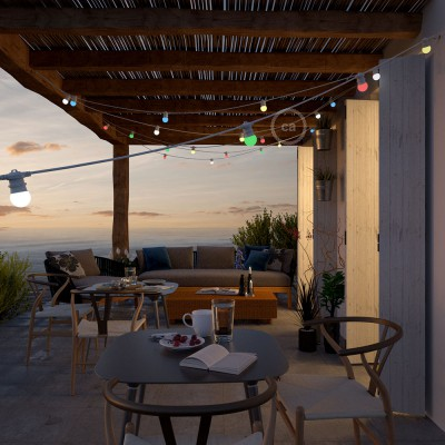Lichterkette weiß für den Außenbereich mit Kabel rund 12,5m lang, 11 Fassungen E27, verlängerbar auf 60m, mit Schuko Stecker