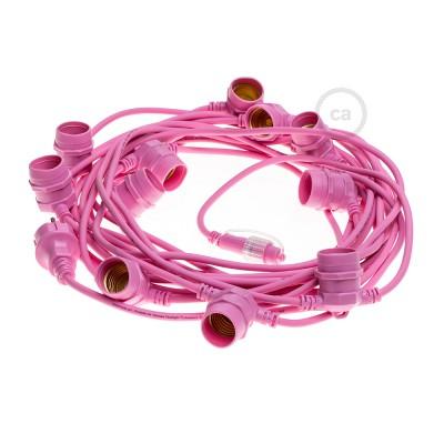Lichterkette rosa für den Außenbereich mit Kabel rund 12,5m lang, 11 Fassungen E27, verlängerbar auf 60m, mit Schuko Stecker