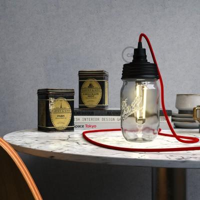 Kit Beleuchtung Einmachglas in metall schwarz, mit konischer Zugentlastung und E14 Lampenfassung in bakelit schwarz