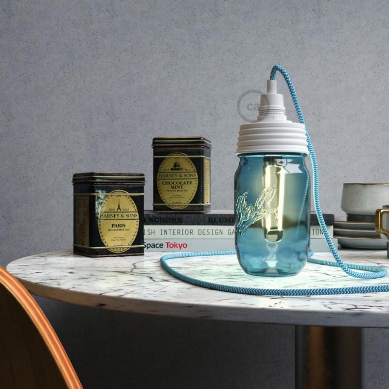 Kit Beleuchtung Einmachglas in metall weiß, mit zylindrischer Zugentlastung und E14 Lampenfassung bakelit weiß