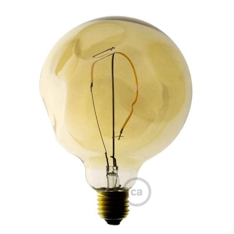 led gl hbirne gold globo g125 mit unebenm iger oberfl che einzelfilament 2 5w e27 deko. Black Bedroom Furniture Sets. Home Design Ideas