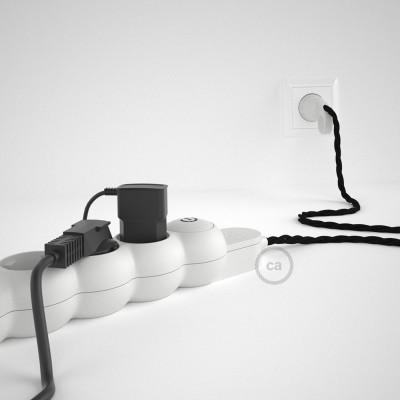 Mehrfachsteckdose mit Textilkabel schwarz TM04 ink Schuko Comfort Ring Stecker.