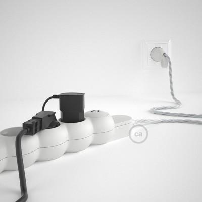 Mehrfachsteckdose mit Textilkabel silber TM02 ink Schuko Comfort Ring Stecker.