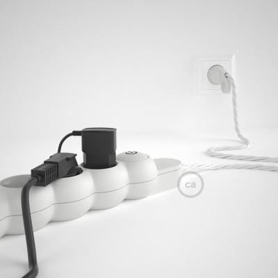 Mehrfachsteckdose mit Textilkabel weiß TM01 ink Schuko Comfort Ring Stecker.
