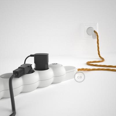 Mehrfachsteckdose mit Textilkabel gold TM05 ink Schuko Comfort Ring Stecker.
