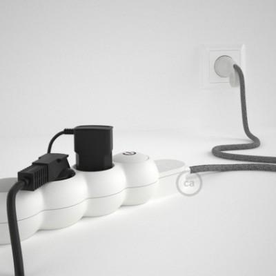 Mehrfachsteckdose mit Grau Natürliche Leinen Textilkabel RN02 ink Schuko Comfort Ring Stecker.