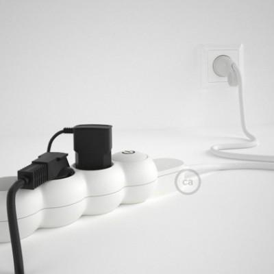 Mehrfachsteckdose mit Weiß Seideneffekt-Textilkabel RM01 ink Schuko Comfort Ring Stecker.