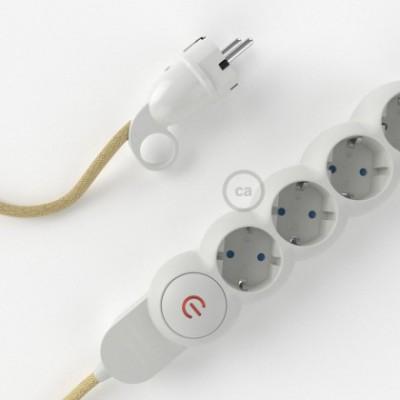Mehrfachsteckdose mit Jutefaser Textilkabel RN06 ink Schuko Comfort Ring Stecker.