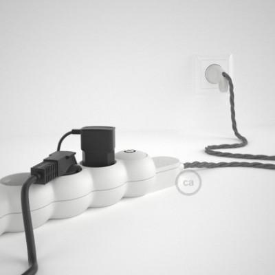 Mehrfachsteckdose mit Grau Natürliche Leinen Textilkabel TN02 ink Schuko Comfort Ring Stecker.