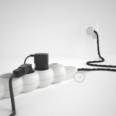 Mehrfachsteckdose mit Anthrazit Natürliche Leinen Textilkabel TN03 ink Schuko Comfort Ring Stecker.