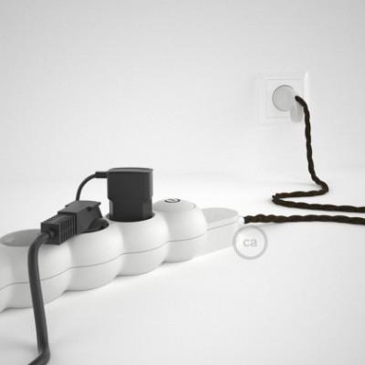 Mehrfachsteckdose mit Braun Natürliche Leinen Textilkabel TN04 ink Schuko Comfort Ring Stecker.