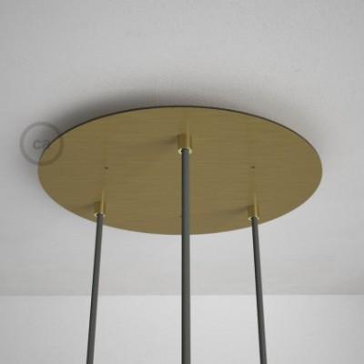 3-Loch XXL Baldachin rund, Durchmesser 35 cm, Messing matt, mit Befestigungszubehör