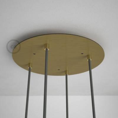 4-Loch XXL Baldachin rund, Durchmesser 35 cm, Messing matt, mit Befestigungszubehör