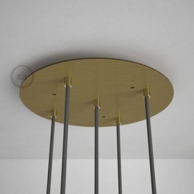5-Loch XXL Baldachin rund, Durchmesser 35 cm, Messing matt, mit Befestigungszubehör
