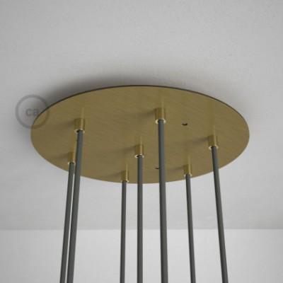 7-Loch XXL Baldachin rund, Durchmesser 35 cm, Messing matt, mit Befestigungszubehör