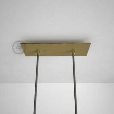 2-Loch XXL Baldachin rechteckig, 30x12 cm, Messing matt, mit Befestigungszubehör