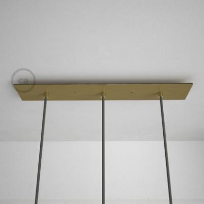 3-Loch XXL Baldachin rechteckig, 60x12 cm, Messing matt, mit Befestigungszubehör