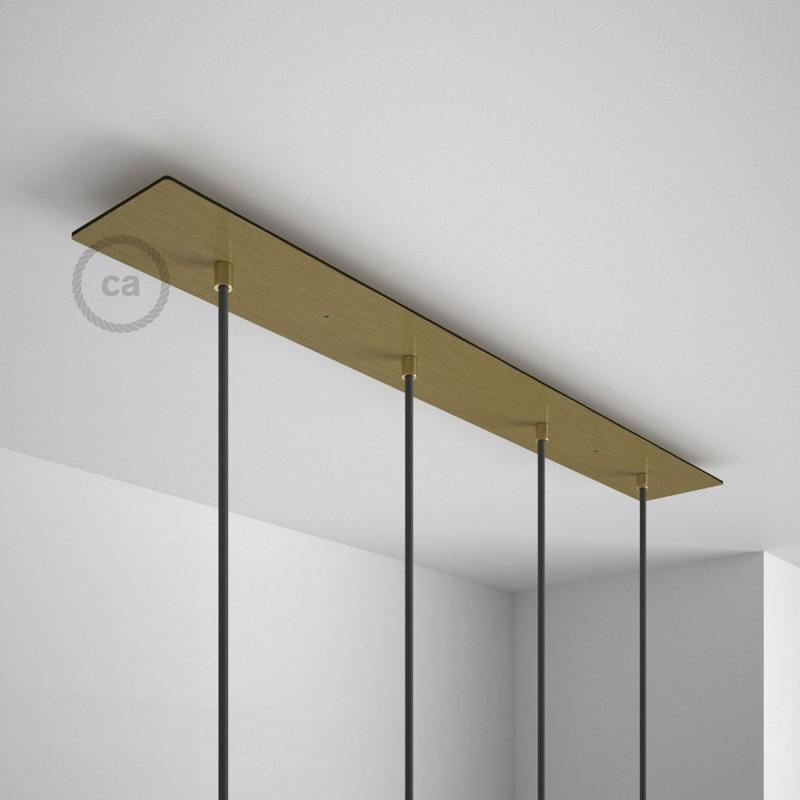 Install New Hanging Light Fixture: 4-Loch XXL Baldachin Rechteckig, 90x12 Cm, Messing Matt