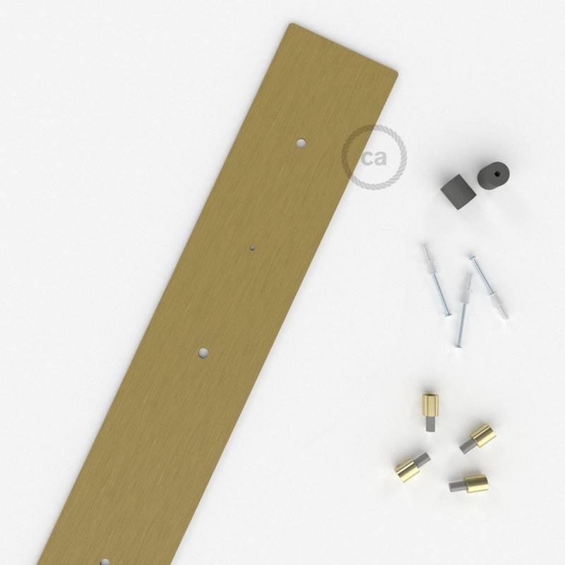 4-Loch XXL Baldachin rechteckig, 90x12 cm, Messing matt, mit Befestigungszubehör