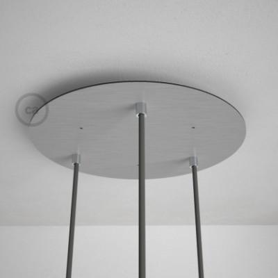 3-Loch XXL Baldachin rund, Durchmesser 35 cm, Silber matt, mit Befestigungszubehör