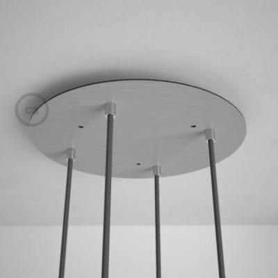4-Loch XXL Baldachin rund, Durchmesser 35 cm, Silber matt, mit Befestigungszubehör