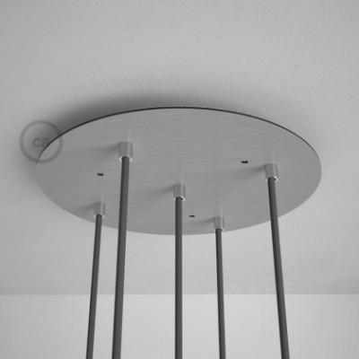 5-Loch XXL Baldachin rund, Durchmesser 35 cm, Silber matt, mit Befestigungszubehör