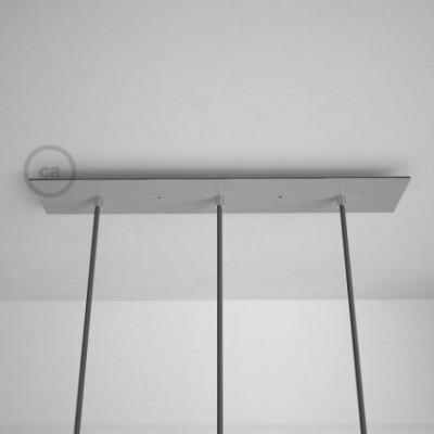 3-Loch XXL Baldachin rechteckig, 60x12 cm, Silber matt, mit Befestigungszubehör
