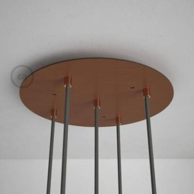 5-Loch XXL Baldachin rund, Durchmesser 35 cm, Kupfer matt, mit Befestigungszubehör