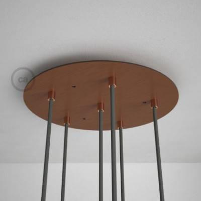 6-Loch XXL Baldachin, Durchmesser 35 cm, Kupfer matt, mit Befestigungszubehör
