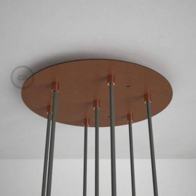 7-Loch XXL Baldachin rund, Durchmesser 35 cm, Kupfer matt, mit Befestigungszubehör