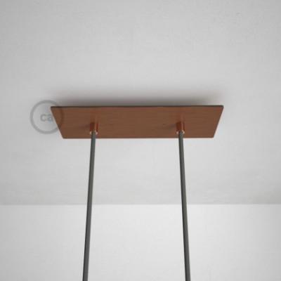 2-Loch XXL Baldachin rechteckig, 30x12 cm, Kupfer matt, mit Befestigungszubehör