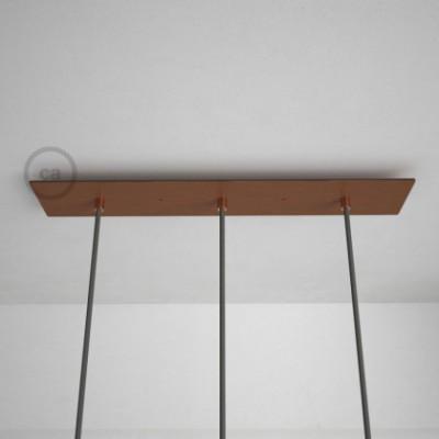 3-Loch XXL Baldachin rechteckig, 60x12 cm, Kupfer matt, mit Befestigungszubehör