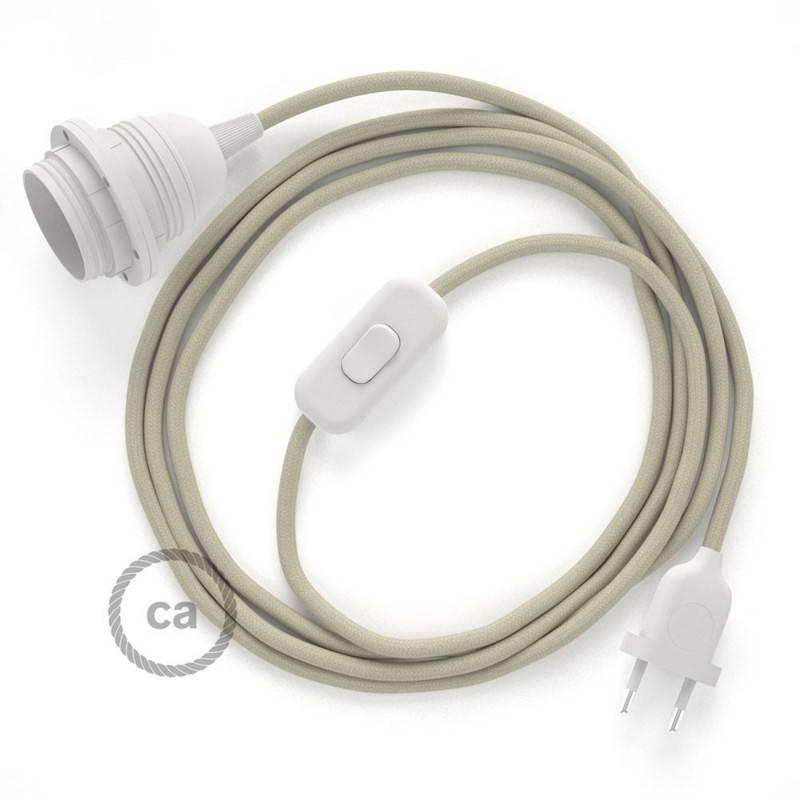 SnakeBis Leuchten-Zuleitung mit Textilkabel Dove Baumwolle RC43