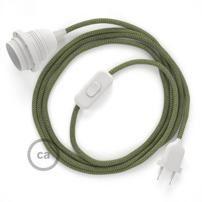 SnakeBis Leuchten-Zuleitung mit Textilkabel Zick Zack Grün Thyme RD72