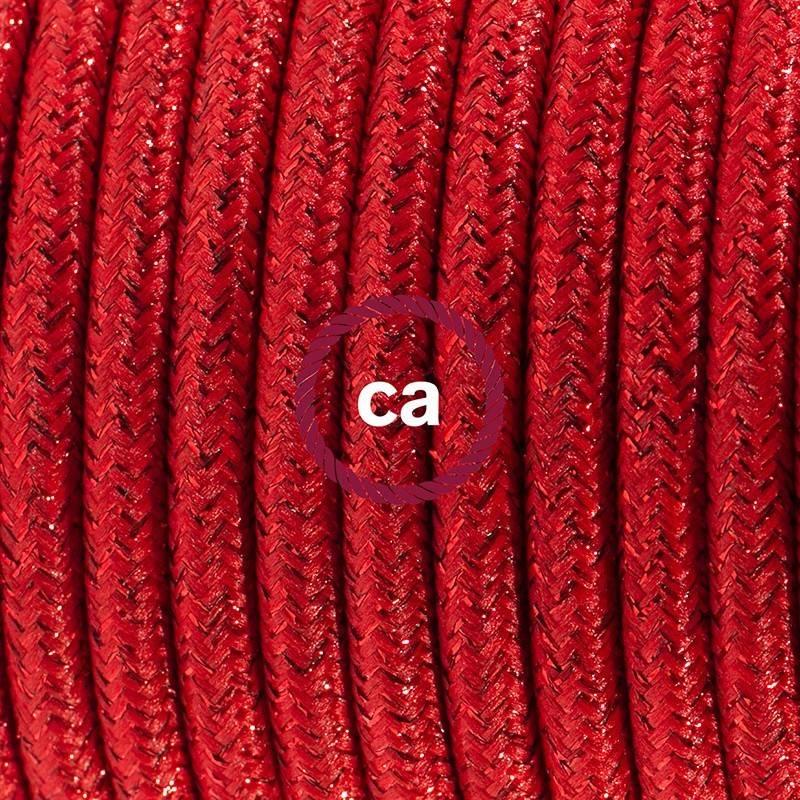 SnakeBis Leuchten-Zuleitung mit Textilkabel Rot Geglittert RL09