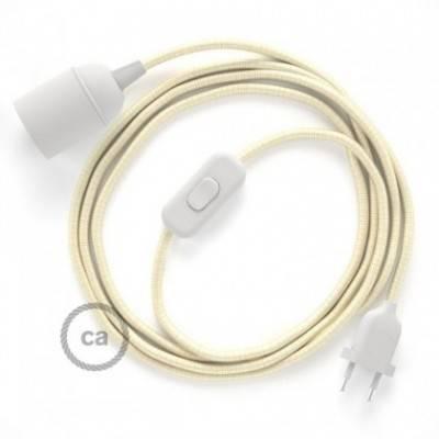 SnakeBis Leuchten-Zuleitung mit Textilkabel Elfenbein Seideneffekt RM00