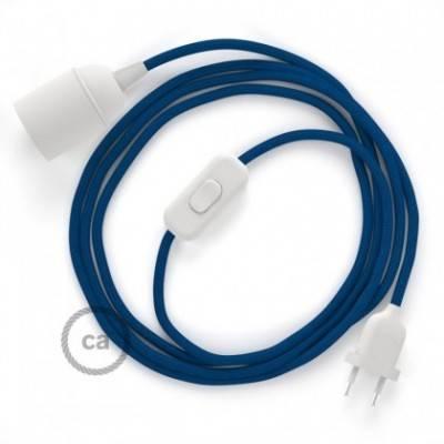 SnakeBis Leuchten-Zuleitung mit Textilkabel Blau Seideneffekt RM12