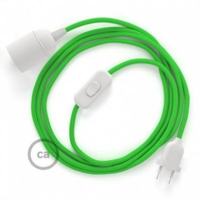 SnakeBis Leuchten-Zuleitung mit Textilkabel Grün Lime Seideneffekt RM18