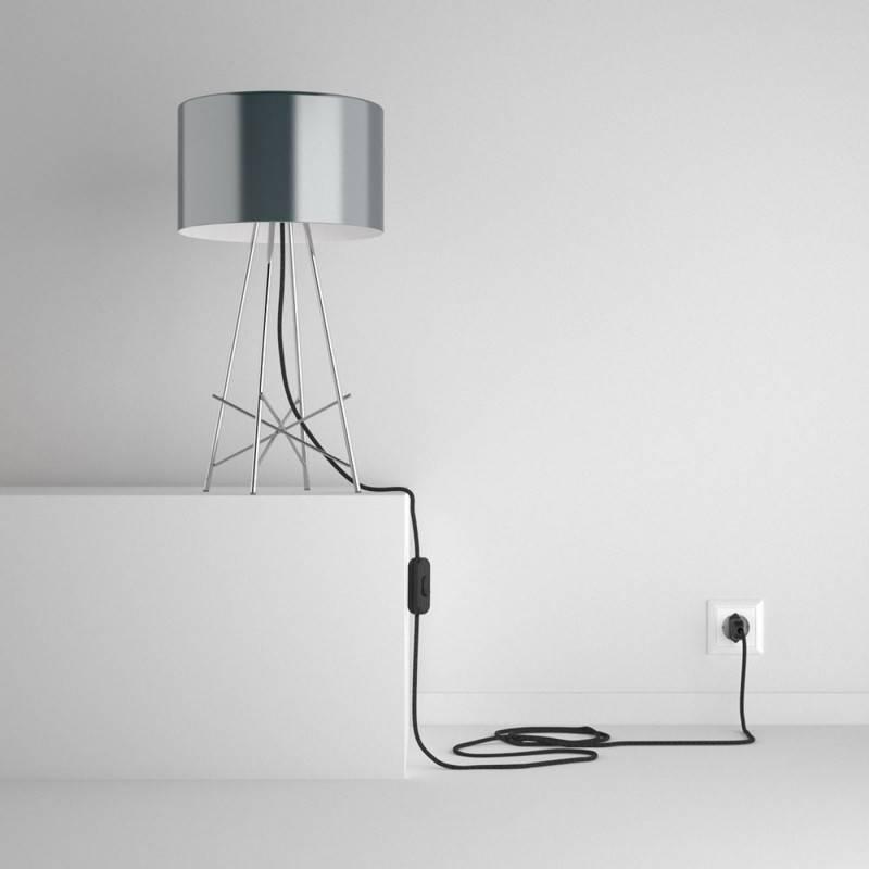 snakebis leuchten zuleitung mit textilkabel antrazit nat rlichem leinen rn03. Black Bedroom Furniture Sets. Home Design Ideas