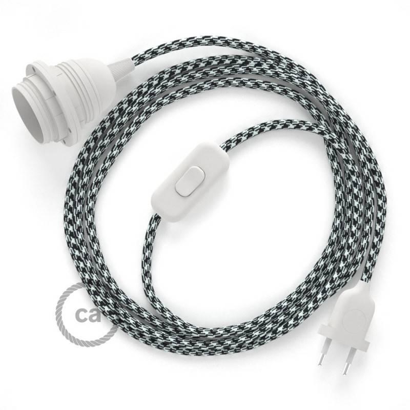 SnakeBis Leuchten-Zuleitung mit Textilkabel Zweifarbig ot Schwarz RP04