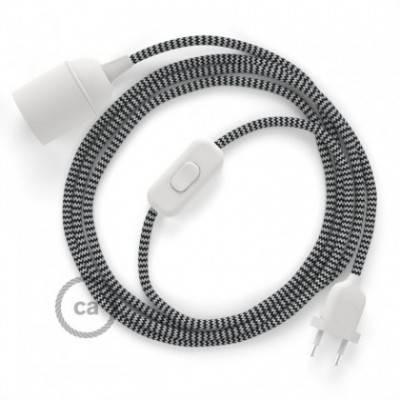 SnakeBis Leuchten-Zuleitung mit Textilkabel Zick Zack Schwarz RZ04